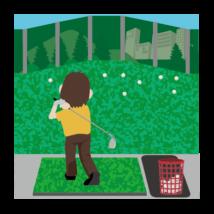 ゴルフ-打ちっ放し(男性)-イラストacworksさんによるイラストACからのイラスト