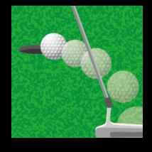 パット(ボール軌道あり)-イラストacworksさんによるイラストACからのイラスト