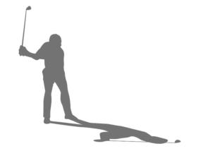 男子ゴルファーシルエット(影付き)-イラストkakeccoさんによるイラストACからのイラスト