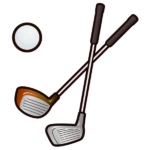 ゴルフクラブとボール-イラスト