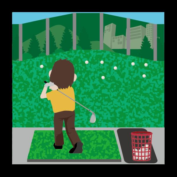 ゴルフ-打ちっ放し(男性)-イラスト