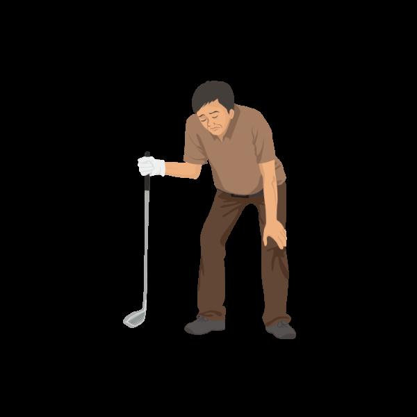 落ち込むゴルファー(男性)-イラスト
