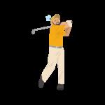 ゴルフ-ミスショット(男性)-イラスト