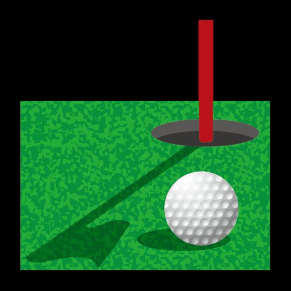 グリーン上のボール-イラスト
