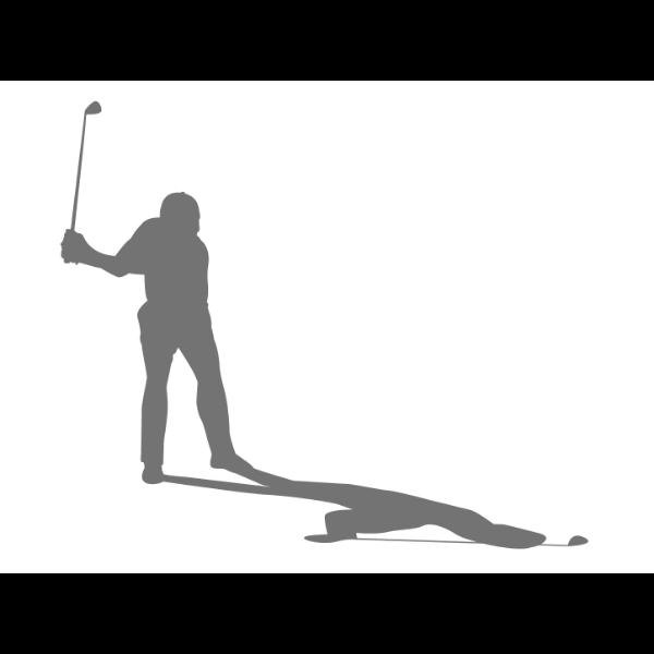 男子ゴルファーシルエット(影付き)-イラスト