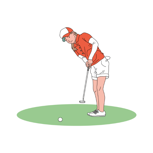女子ゴルファー-パット-イラスト