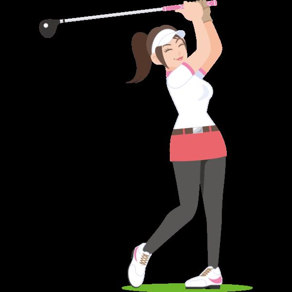 女子ゴルファー-イラスト